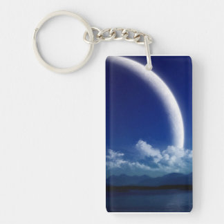 Moon and Clouds Single-Sided Rectangular Acrylic Key Ring