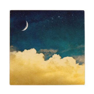 Moon And Cloudscape Wood Coaster