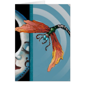 Moon and dragonfly card