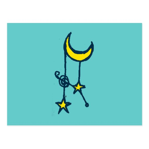 Moon and Hanging Stars Postcard