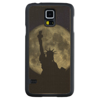Moon and Lady Liberty Carved Maple Galaxy S5 Case