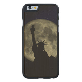 Moon and Lady Liberty Carved Maple iPhone 6 Case