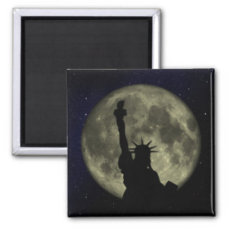 Moon and Lady Liberty Magnet