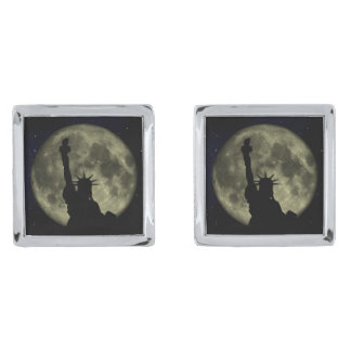Moon and Lady Liberty Silver Finish Cuff Links