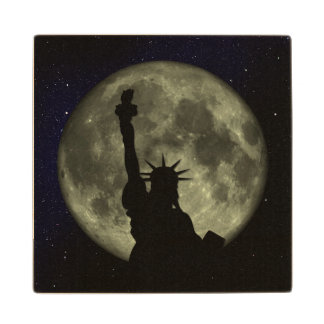 Moon and Lady Liberty Wood Coaster
