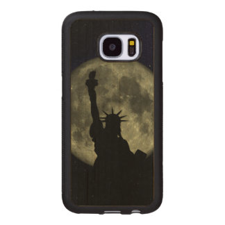 Moon and Lady Liberty Wood Samsung Galaxy S7 Case