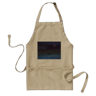 moon and man and steps standard apron