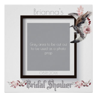 Moon And Raven Watercolor Bridal Shower Photo Prop Poster