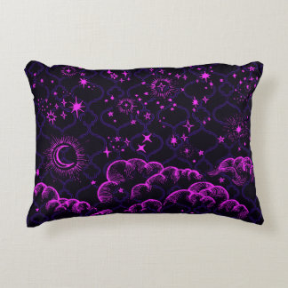 """""""Moon and Stars"""" Accent Throw Pillow (PK/BLK/PUR)"""