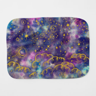"""Moon and Stars"" Baby Burp Cloth (Gold-Etc)"