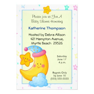 Moon and Stars Baby Shower Invitations