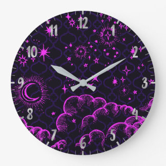 Moon and Stars | Black, Hot Pink Large Clock