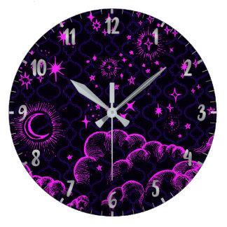 Moon and Stars | Black, Hot Pink Wall Clock