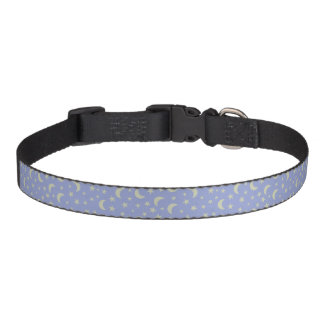 Moon and Stars Blue Background Pet Collar