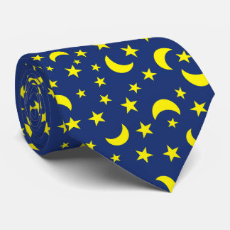 Moon and Stars Blue Background Tie