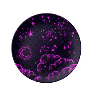 """Moon and Stars"" Decorative Plate (PK/BLK/PUR) Porcelain Plates"