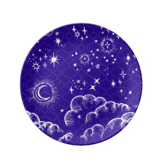 """""""Moon and Stars"""" Decorative Plate (WH/BLU/PUR)"""