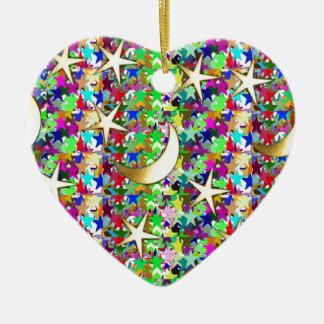 Moon and Stars : Elegant Starry night background Ceramic Heart Decoration
