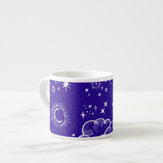 """Moon and Stars"" Espresso Mug (WH/BLU/PUR)"