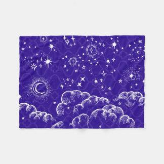 """Moon and Stars"" Fleece Blanket (WH/BLU/PUR)"