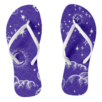 """Moon and Stars"" Flip Flop Shoes (WH/BLU/PUR) Thongs"