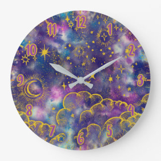 Moon and Stars | Gold, Colorful Large Clock