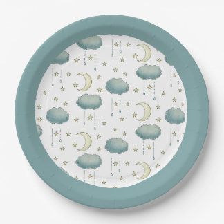 Moon and Stars Green Paper Plate
