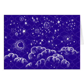 """Moon and Stars"" Greeting Card (WH/BLU/PUR)"