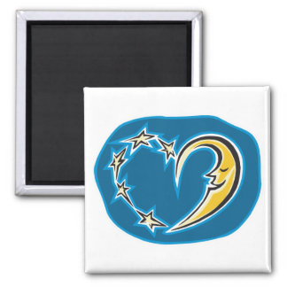 moon and stars heart refrigerator magnet