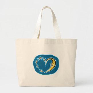 moon and stars heart jumbo tote bag
