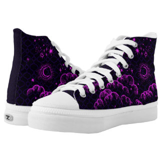 """Moon and Stars"" High Tops Shoes (PK/BLK/PUR)"