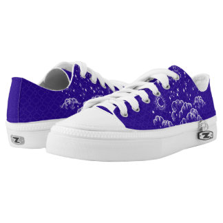 """""""Moon and Stars"""" Low Tops Shoes (WH/BLU/PUR) Printed Shoes"""