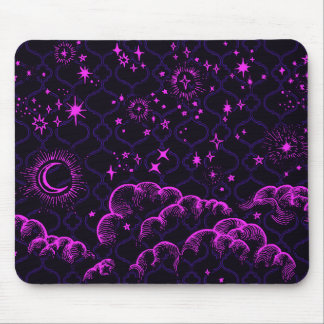 """Moon and Stars"" Mousepad Moroccan (PK/BLK/PUR)"