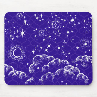 """Moon and Stars"" Mousepad Moroccan (WH/BLU/PUR)"