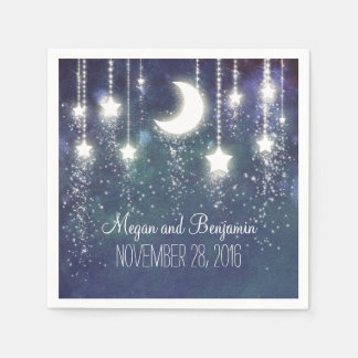 moon and stars navy enchanted romantic disposable serviette