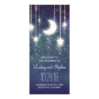 moon and stars navy wedding program rack cards