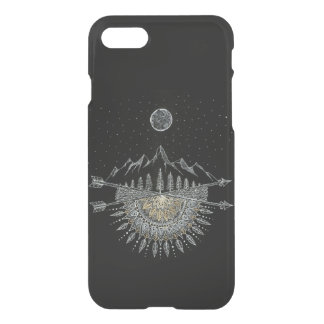 Moon and Stars Night Sky Mountain Range Mandala iPhone 8/7 Case