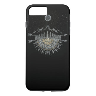 Moon and Stars Night Sky Mountain Range Mandala iPhone 8 Plus/7 Plus Case