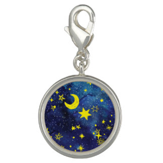 MOON AND STARS Round Charm, Silver Plated