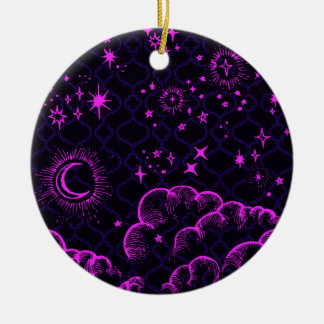"""Moon and Stars"" Round Ornament (PK/BLK/PUR)"