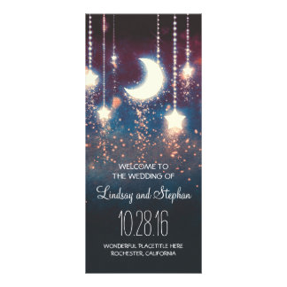 moon and stars rustic wedding program rack card