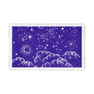 """Moon and Stars"" Small Vanity Tray (WH/BLU/PUR)"