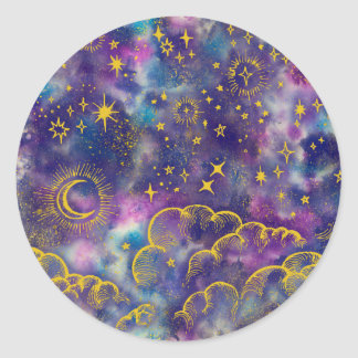 """""""Moon and Stars"""" Sticker (Gold-Etc)"""