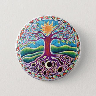 Moon and Sun Tree of Life Mandala Button