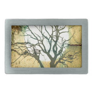 Moon and Tree Landscape in Turquoise Glow Belt Buckle