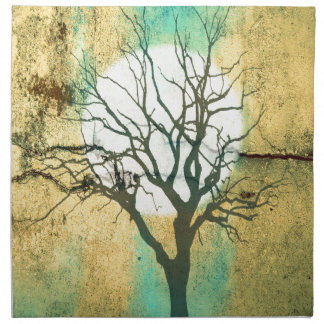 Moon and Tree Landscape in Turquoise Glow Napkin