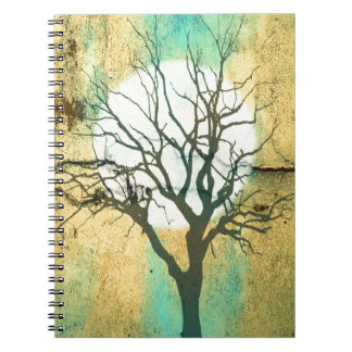 Moon and Tree Landscape in Turquoise Glow Notebook