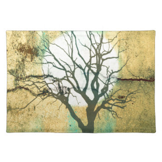 Moon and Tree Landscape in Turquoise Glow Placemat