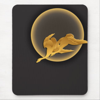 Moon and wild geese mouse pad