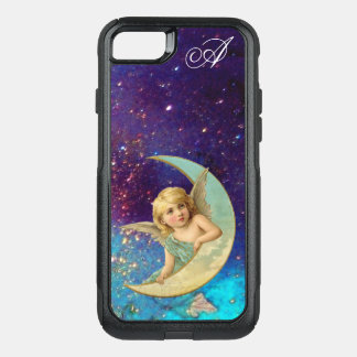 MOON ANGEL IN BLUE GOLD SPARKLES Monogram OtterBox Commuter iPhone 8/7 Case
